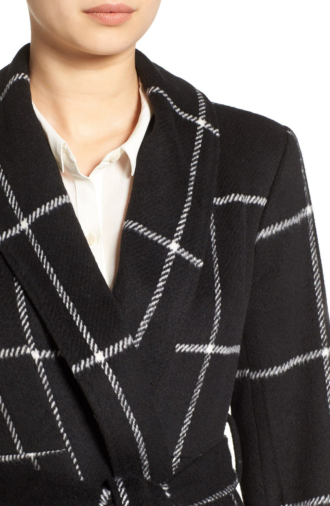 Alternate Image 4  - BB Dakota 'Braylee' Windowpane Plaid Midi Coat