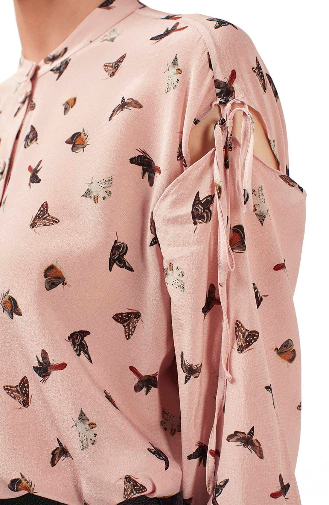 Alternate Image 6  - Topshop Unique 'Campion' Butterfly Print Silk Blouse