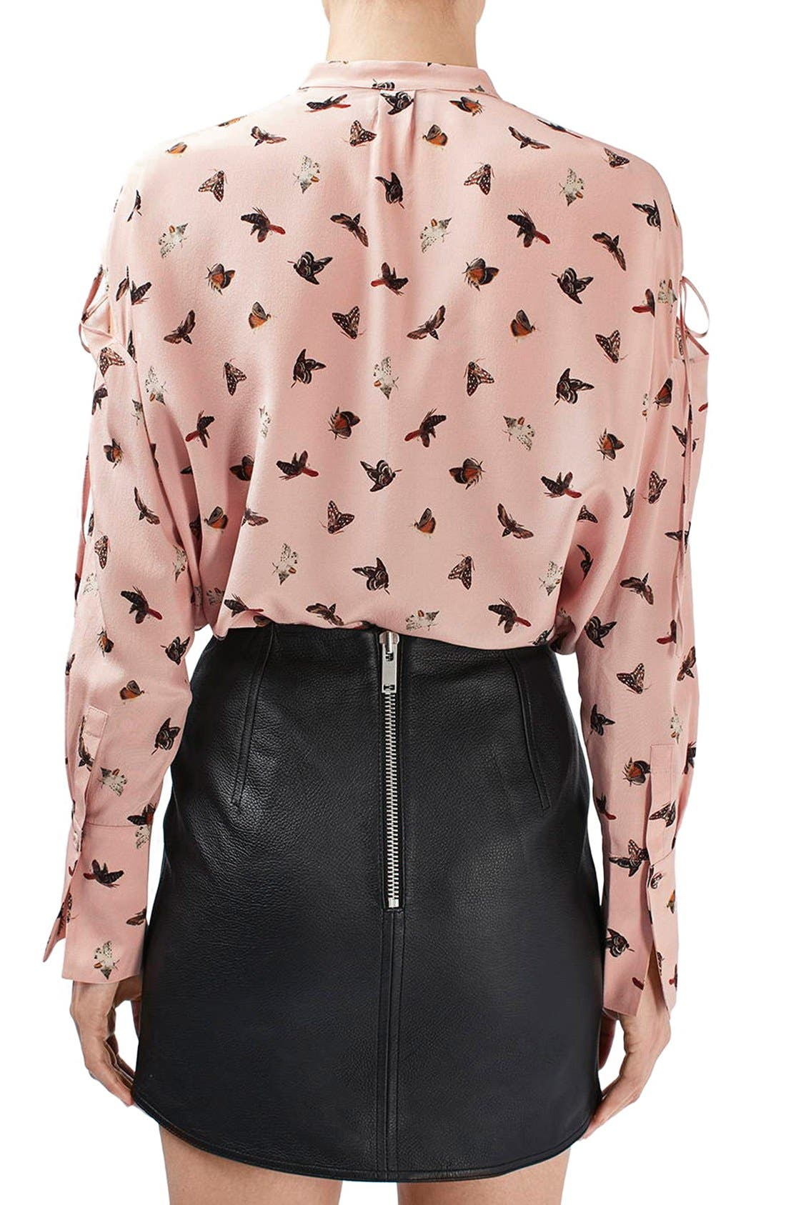 Alternate Image 3  - Topshop Unique 'Campion' Butterfly Print Silk Blouse