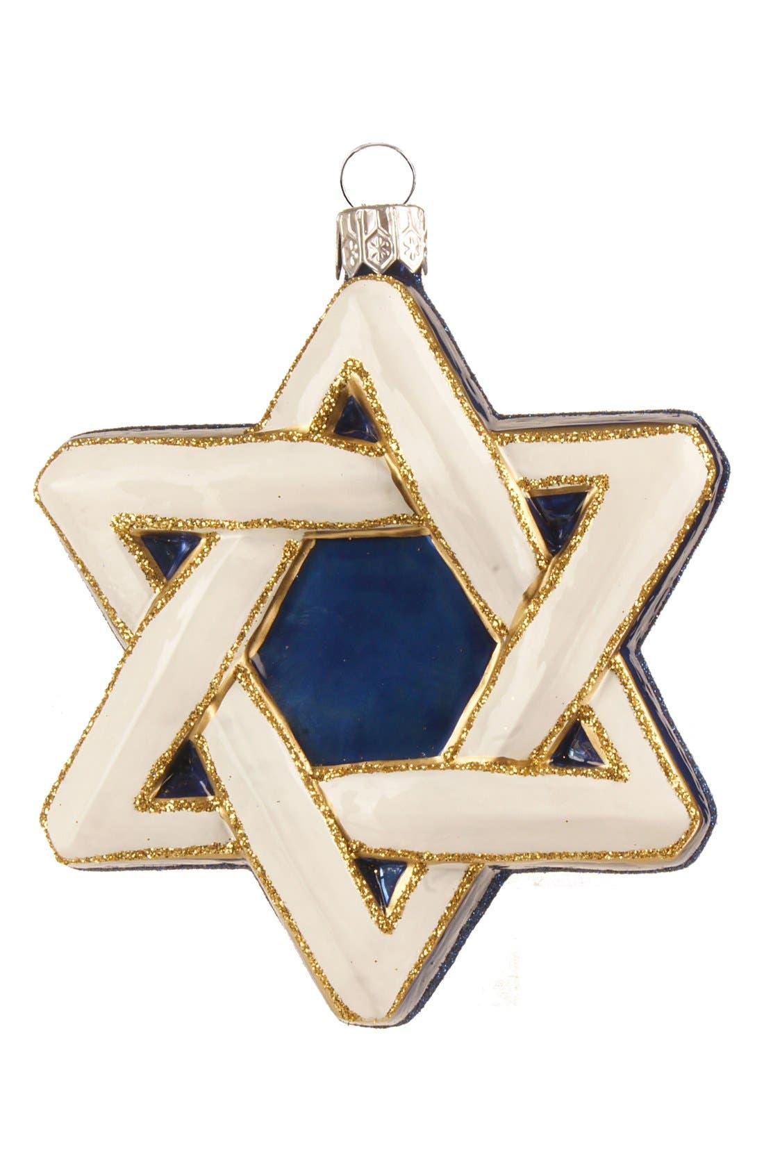 'Hanukkah' Hand Blown Glass Decoration,                         Main,                         color, White Multi Star Of David