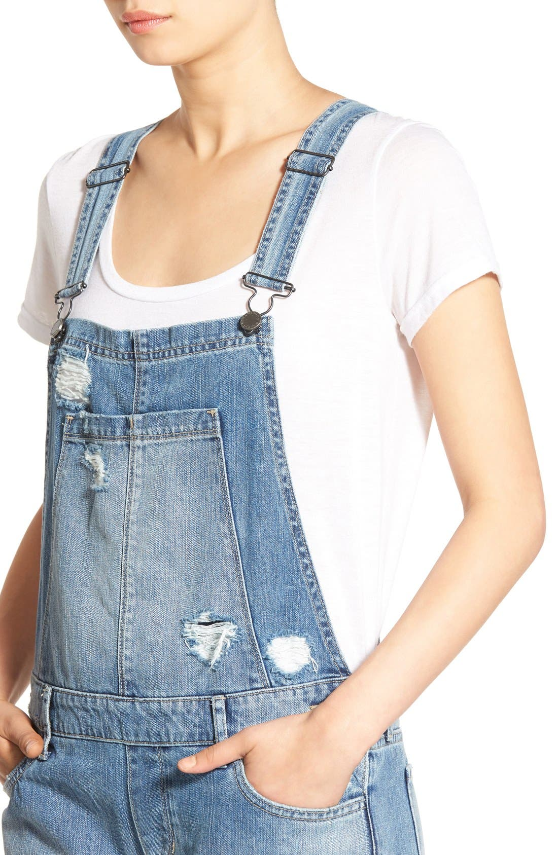 Alternate Image 4  - Articles of Society Distressed Denim Overalls