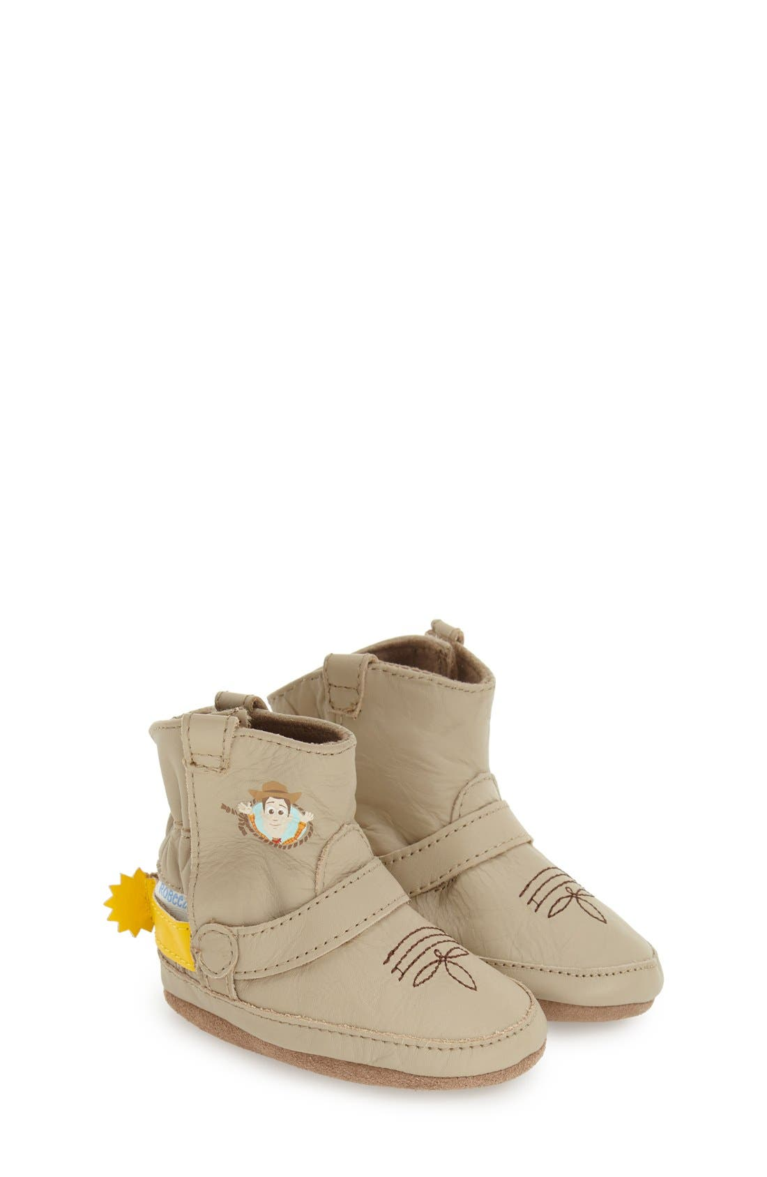 'Disney<sup>®</sup> Woody<sup>®</sup> Bootie' Crib Shoe,                         Main,                         color, Taupe