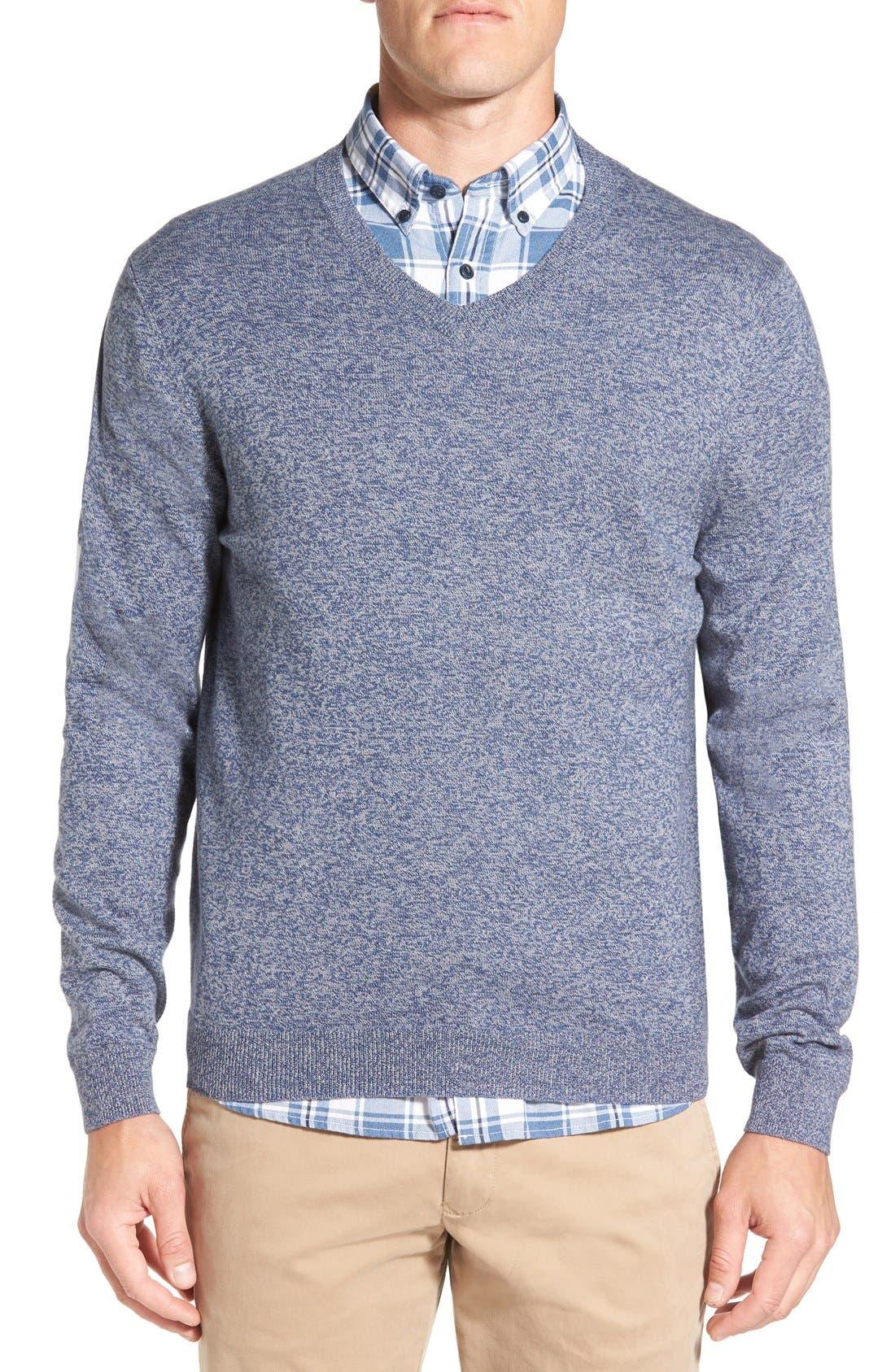 Cotton & Cashmere V-Neck Sweater,                             Main thumbnail 1, color,                             Blue Estate Jaspe