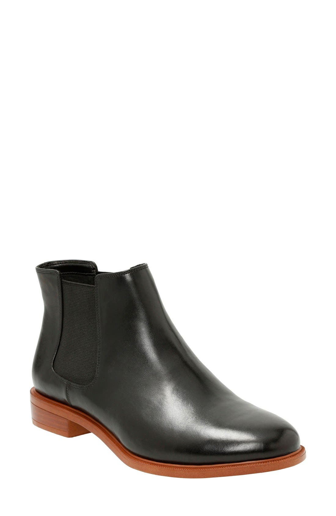 'Taylor Shine' Chelsea Boot,                         Main,                         color, Black Leather