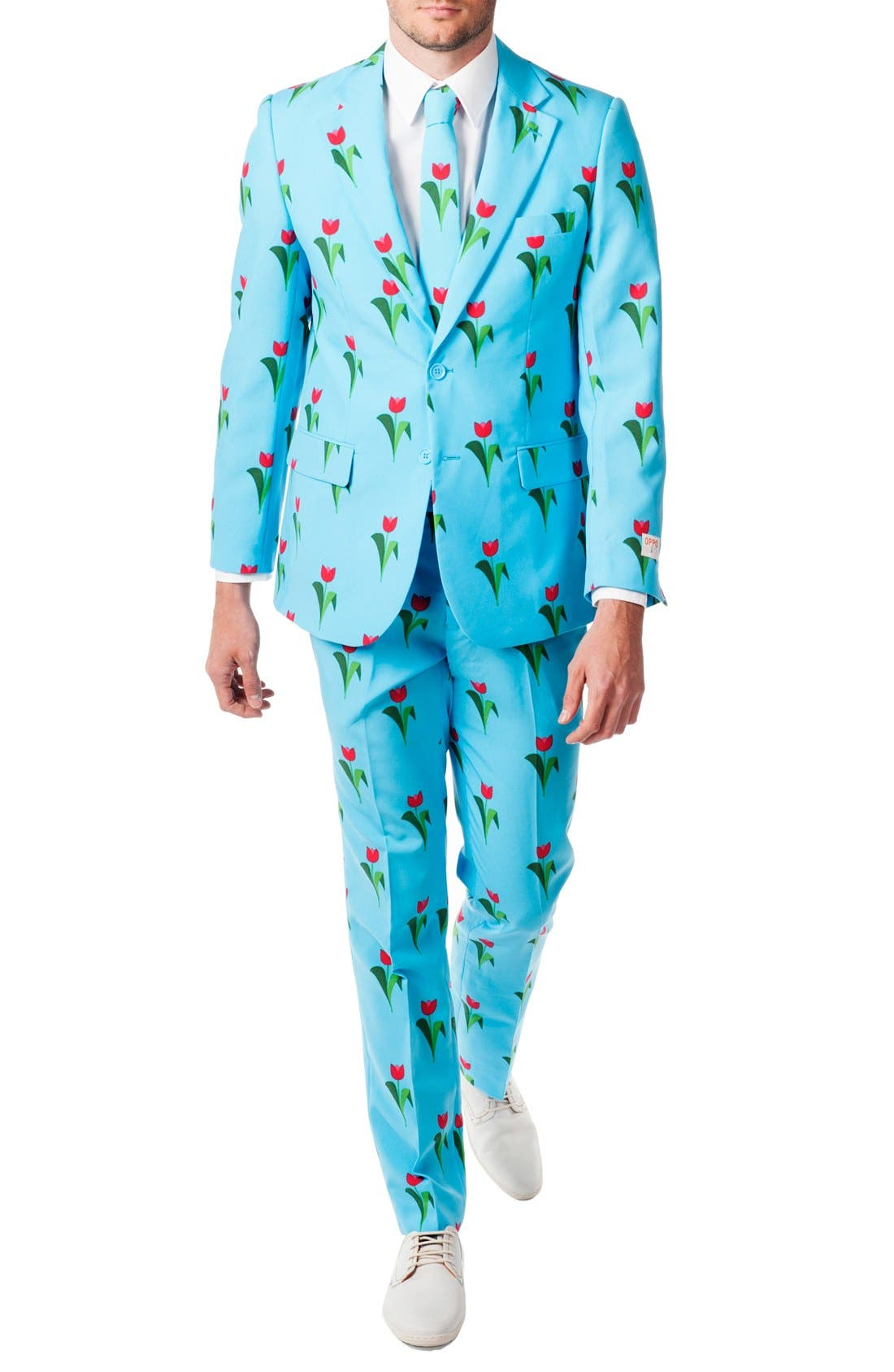 'Tulips from Amsterdam' Trim Fit Two-Piece Suit with Tie,                             Main thumbnail 1, color,                             Blue