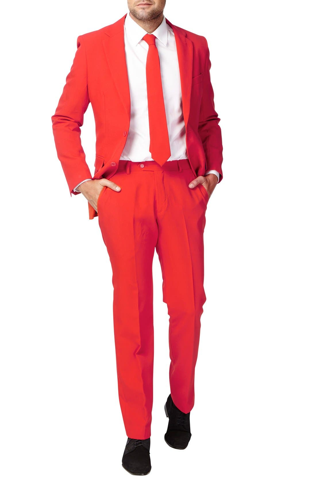 OppoSuit 'Red Devil' Trim Fit Two-Piece Suit with Tie,                         Main,                         color, Medium Red