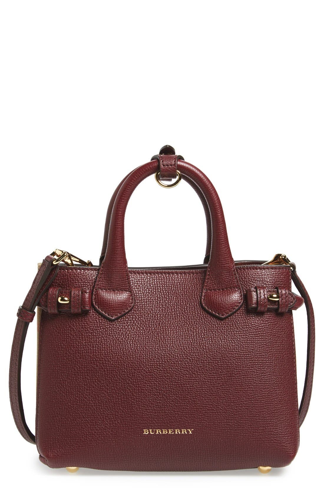 'Mini Banner' House Check Leather Tote,                         Main,                         color, Mahogany Red