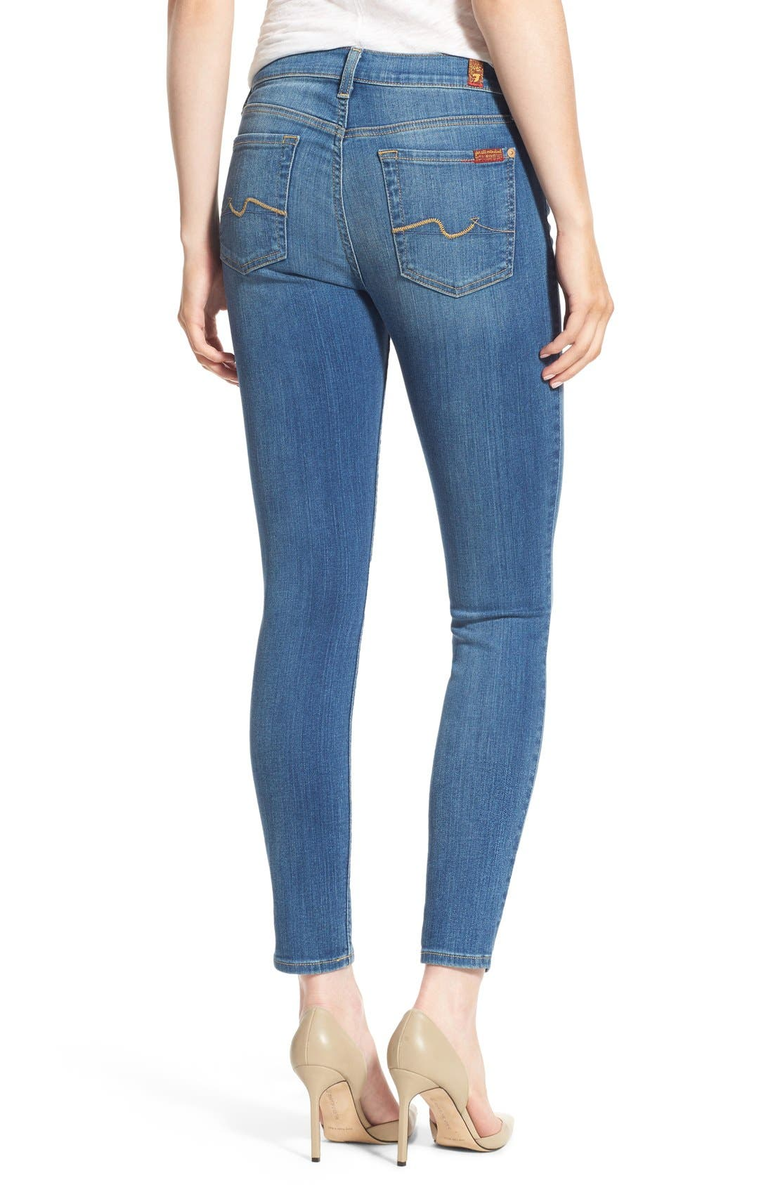 Alternate Image 2  - 7 For All Mankind® Skinny Ankle Jeans (Supreme Vibrant Blue)