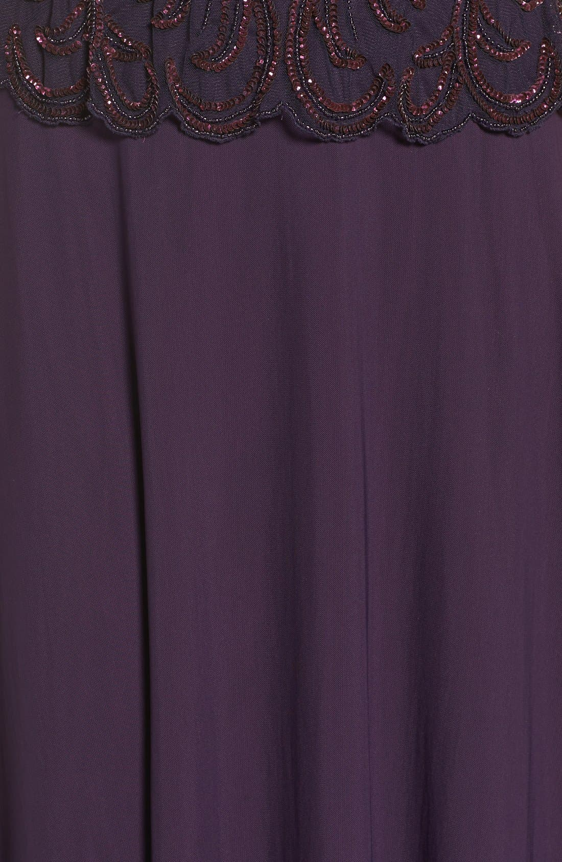 Embellished Mesh Popover Gown,                             Alternate thumbnail 5, color,                             Plum