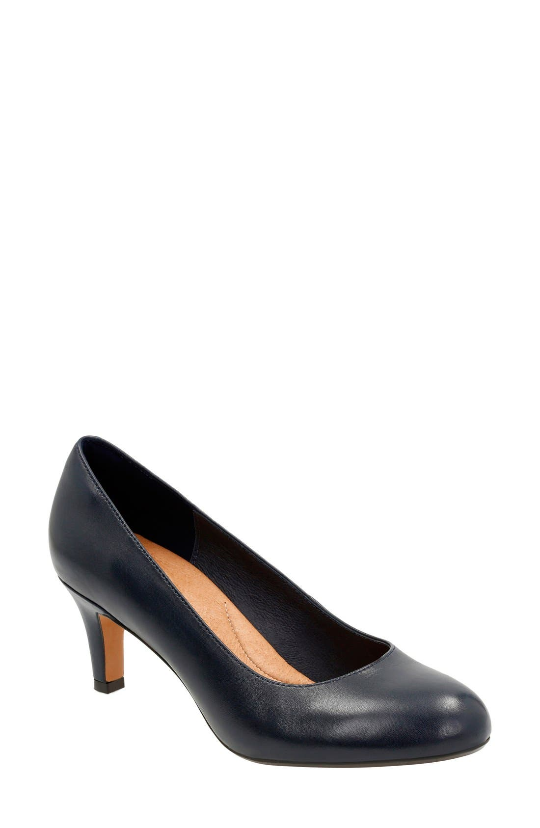 'Heavenly Heart' Pump,                         Main,                         color, Navy Leather