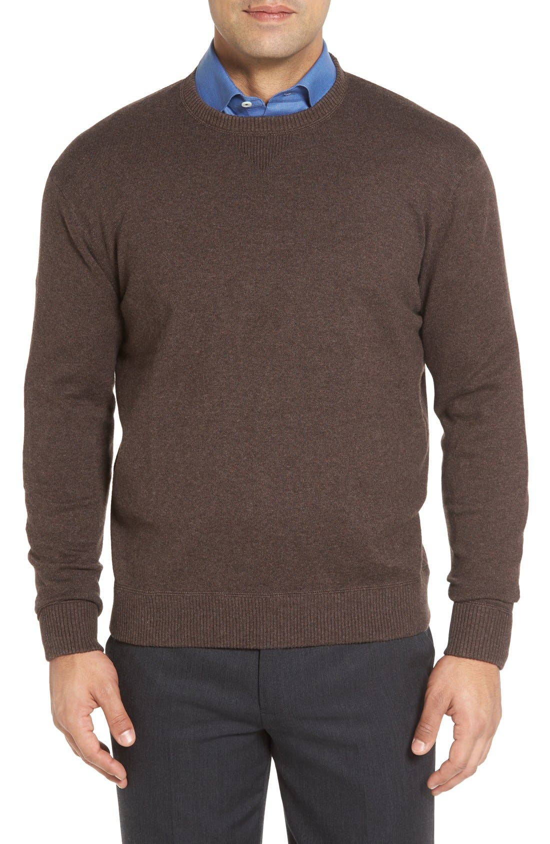 'Jersey Sport' Cotton Blend Crewneck Sweater,                             Main thumbnail 1, color,                             Coffee