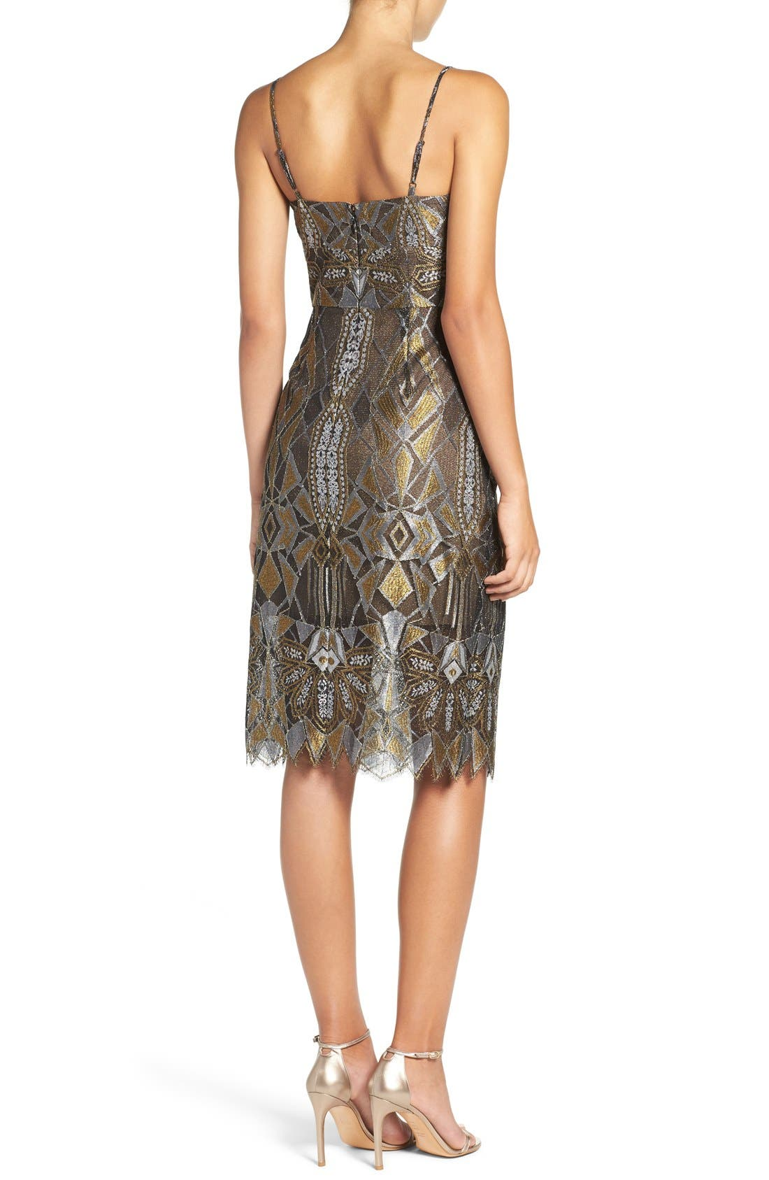 Alternate Image 2  - BCBGMAXAZRIA 'Alese' Metallic Lace Slipdress