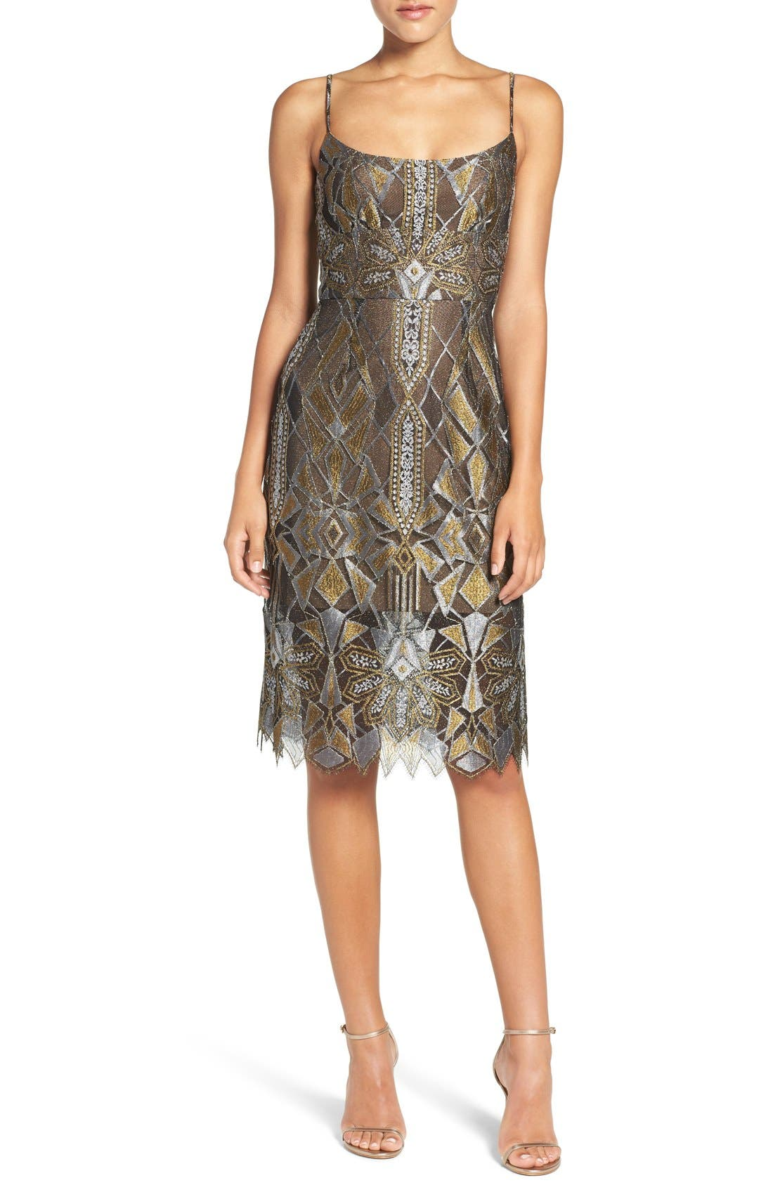 Alternate Image 1 Selected - BCBGMAXAZRIA 'Alese' Metallic Lace Slipdress