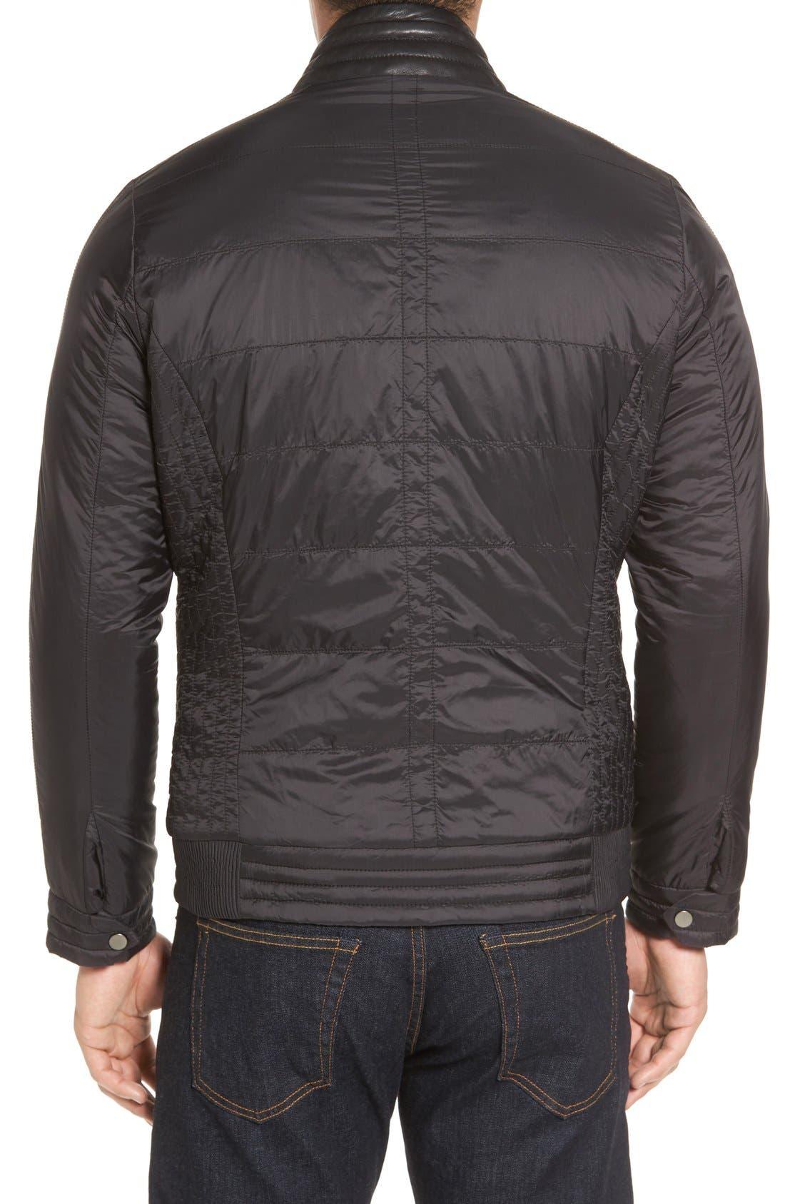 Alternate Image 2  - Missani Le Collezioni Leather Trimmed Nylon Jacket