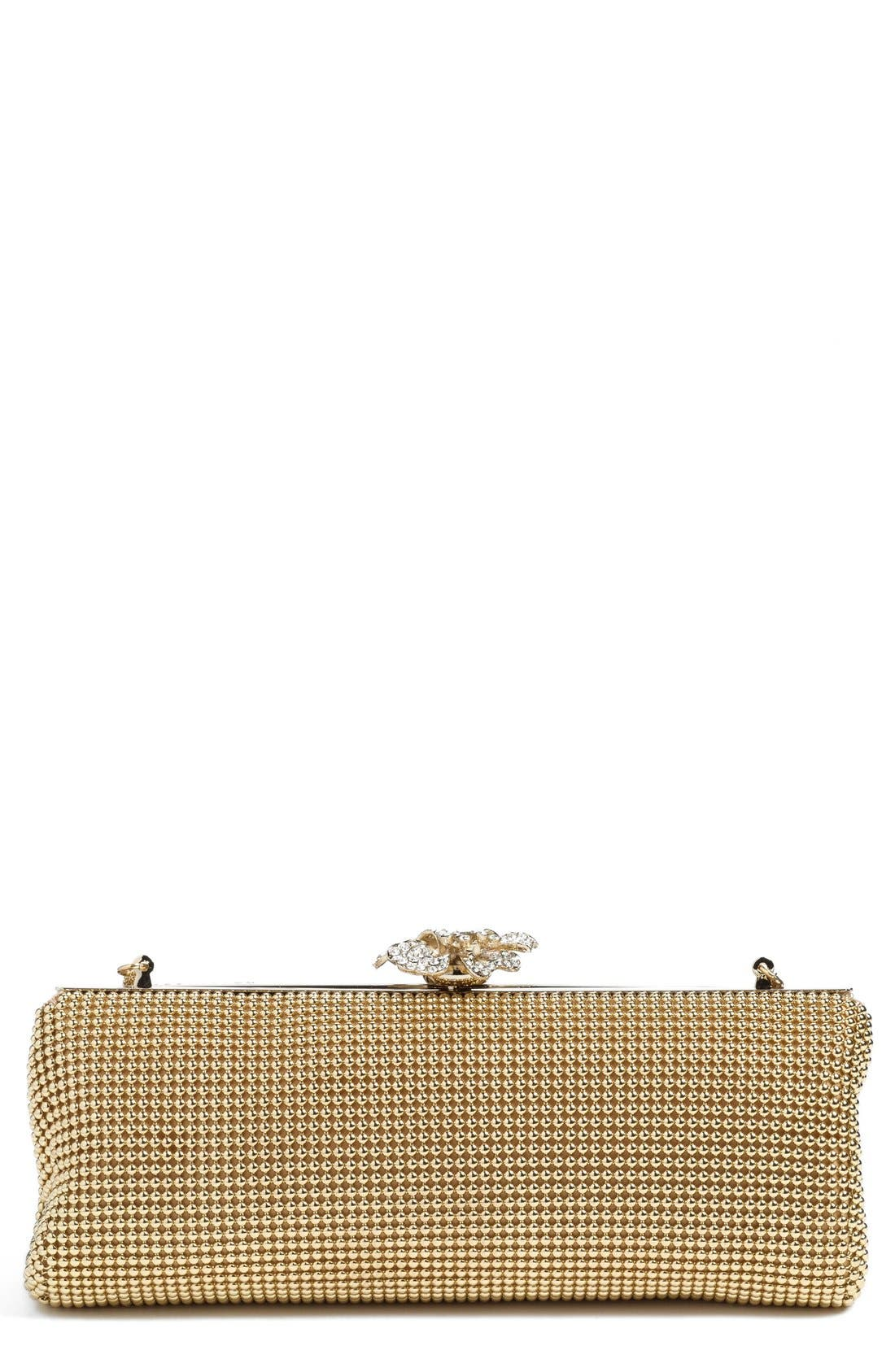 'Crystal Flower' Metal Mesh Clutch,                             Main thumbnail 1, color,                             Gold
