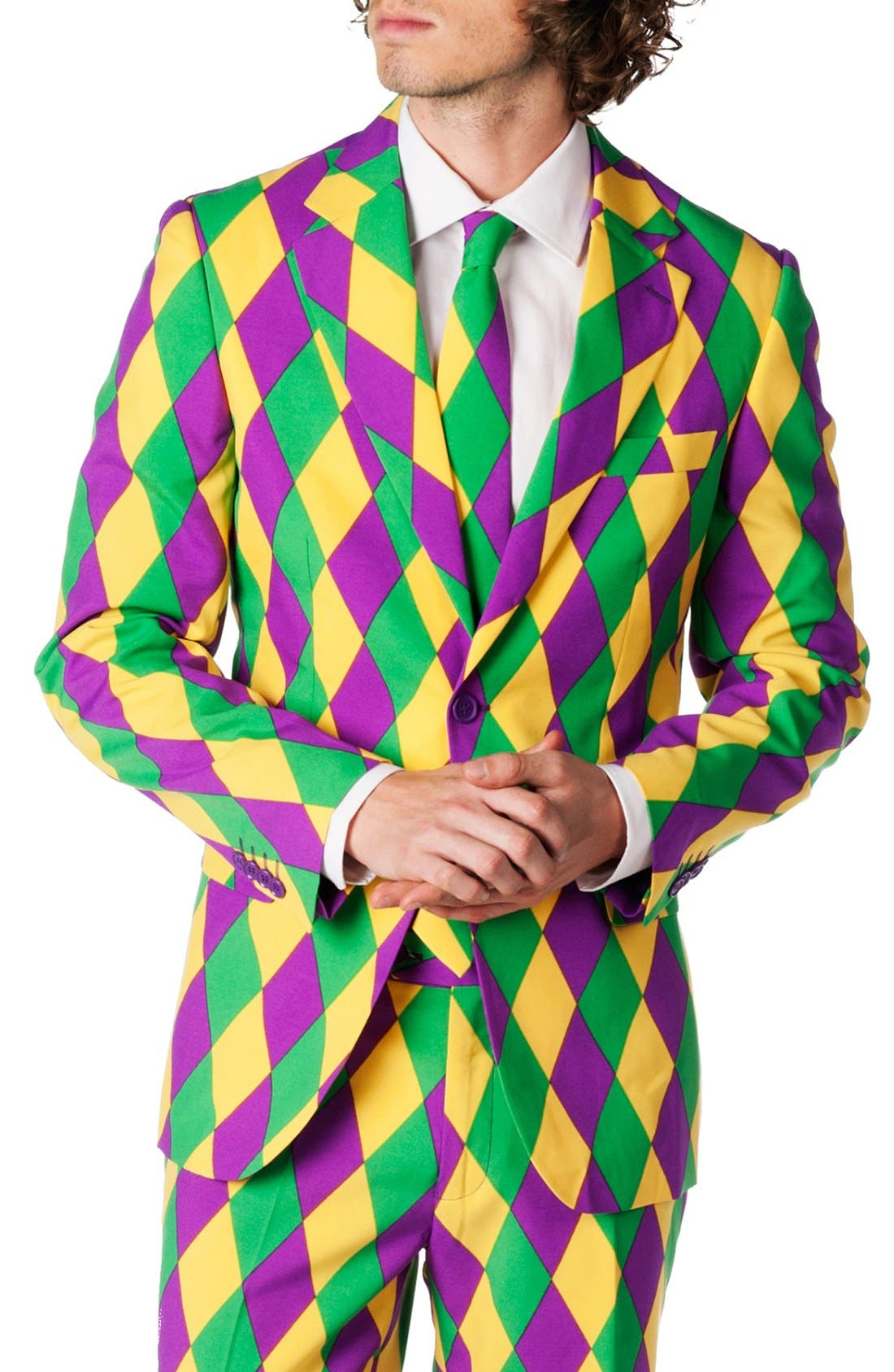 'Harleking' Trim Fit Suit with Tie,                             Alternate thumbnail 4, color,                             Green/ Purple/ Yellow
