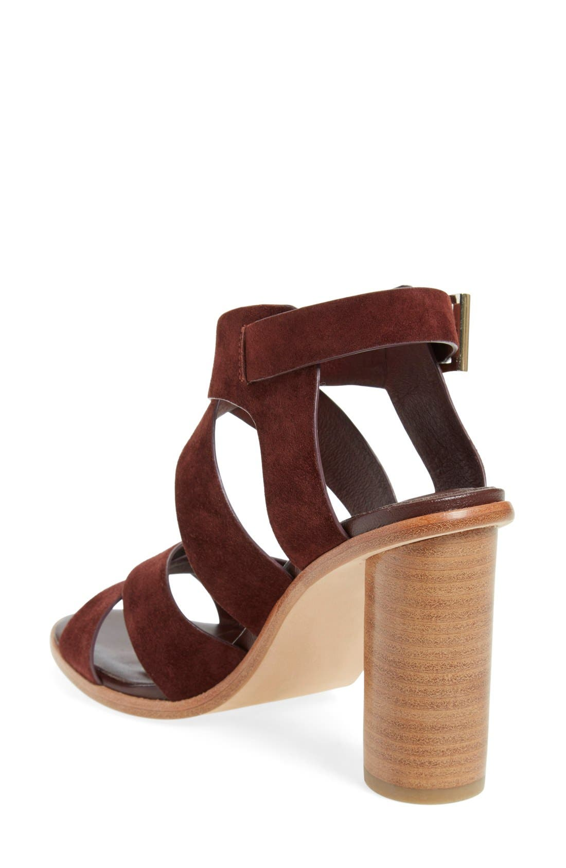 'Avery' Crisscross Block Heel Sandal,                             Alternate thumbnail 2, color,                             Oxblood Suede