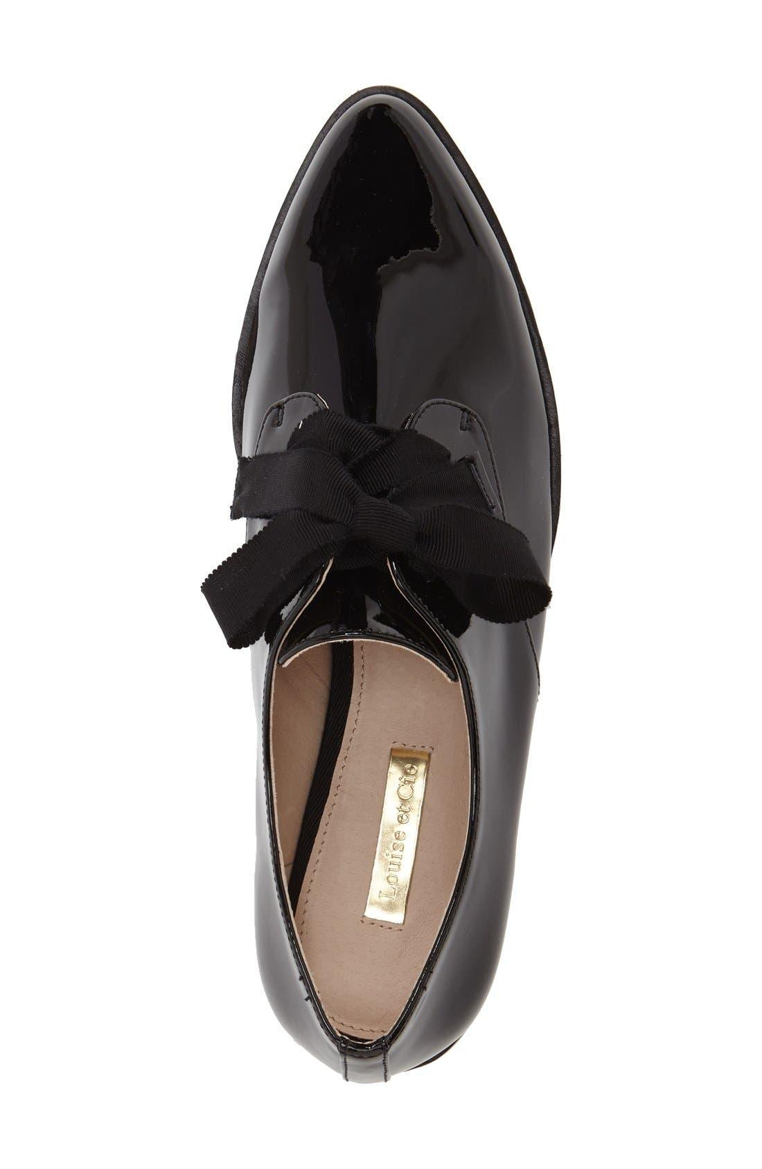 'Adwin' Almond Toe Oxford,                             Alternate thumbnail 3, color,                             Black Patent