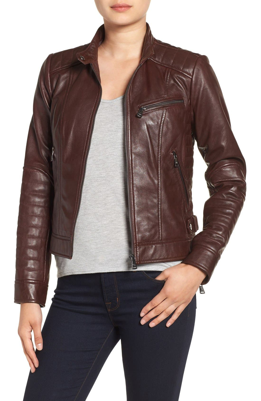 Quilted Leather Moto Jacket,                         Main,                         color, Ruby Wine