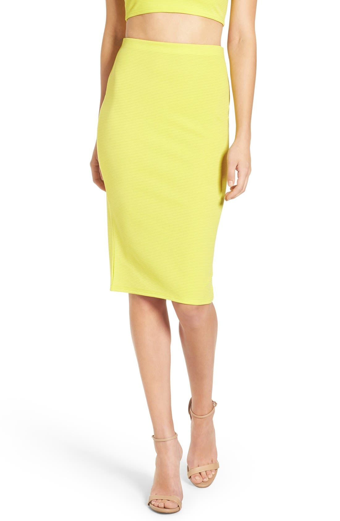 Alternate Image 1 Selected - Missguided Ribbed Midi Skirt