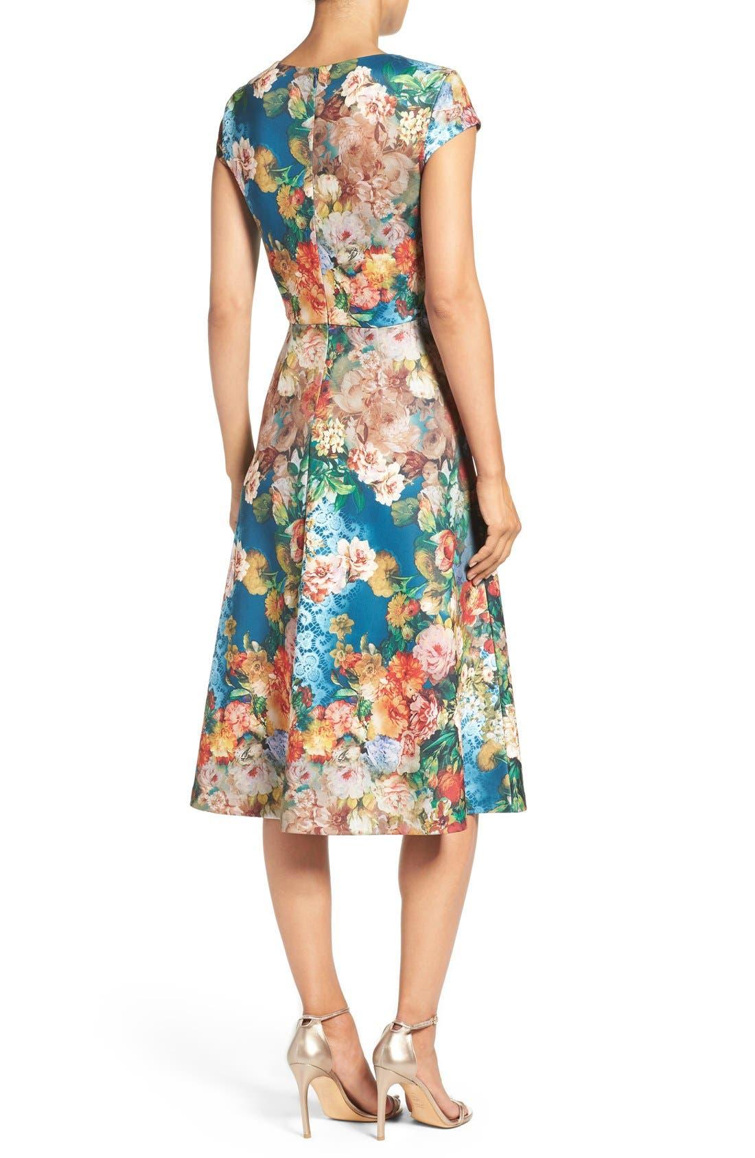 Alternate Image 2  - ECI Floral Scuba Fit & Flare Midi Dress