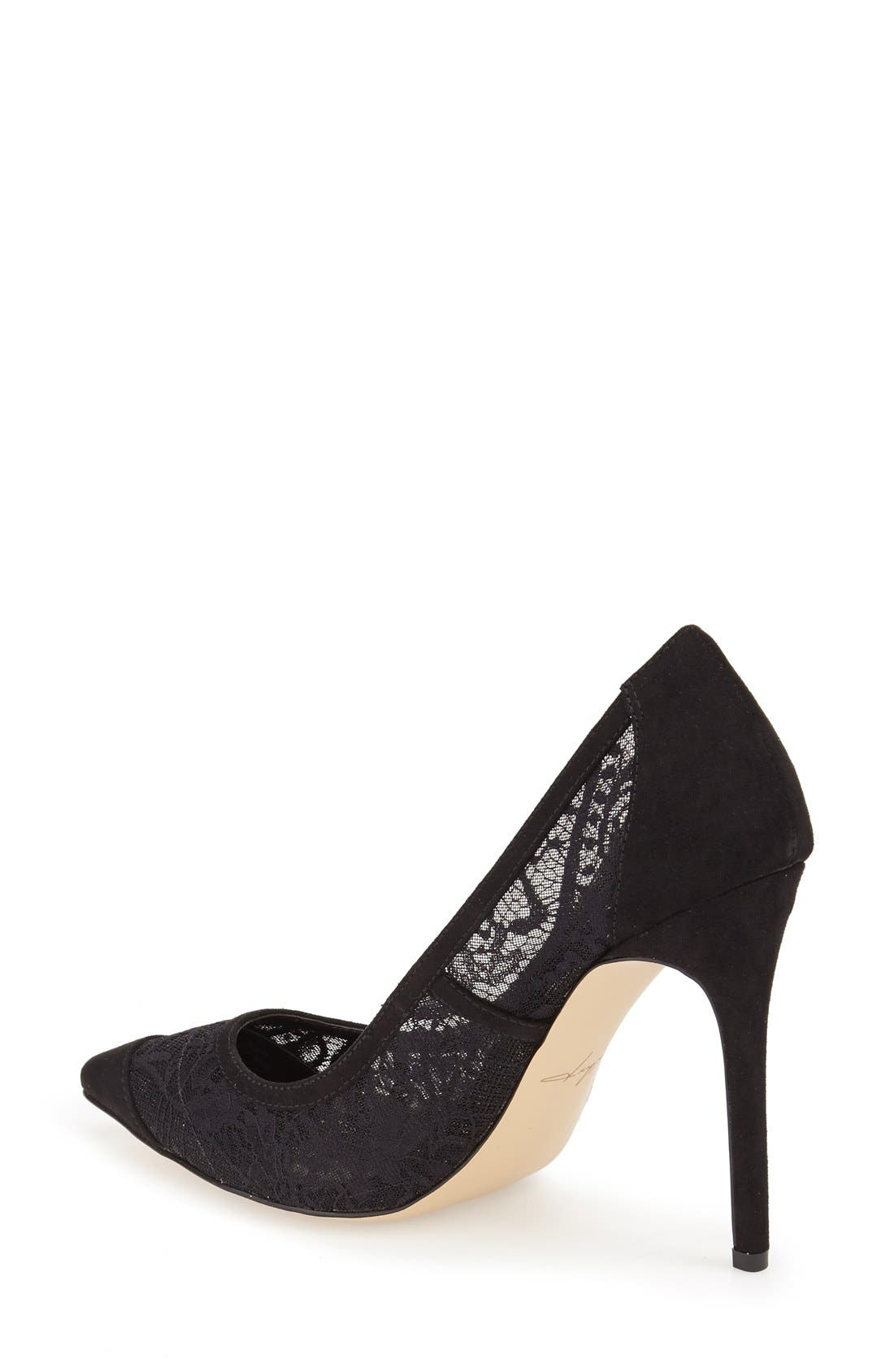 by Zendaya 'Annabelle' Pointy Toe Pump,                             Alternate thumbnail 2, color,                             Black Lace Fabric