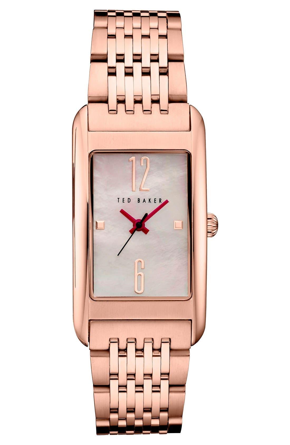 Rectangle Case Bracelet Watch, 23mm,                         Main,                         color, Rose Gold