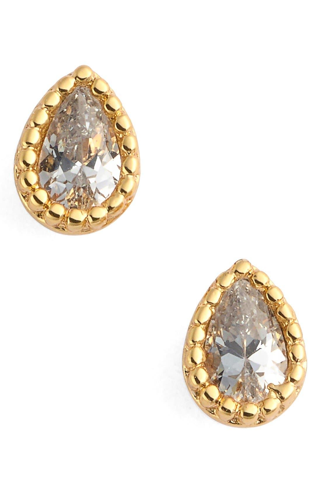 Micro Teardrop Stud Earrings,                             Main thumbnail 1, color,                             Yellow Gold/ Clear