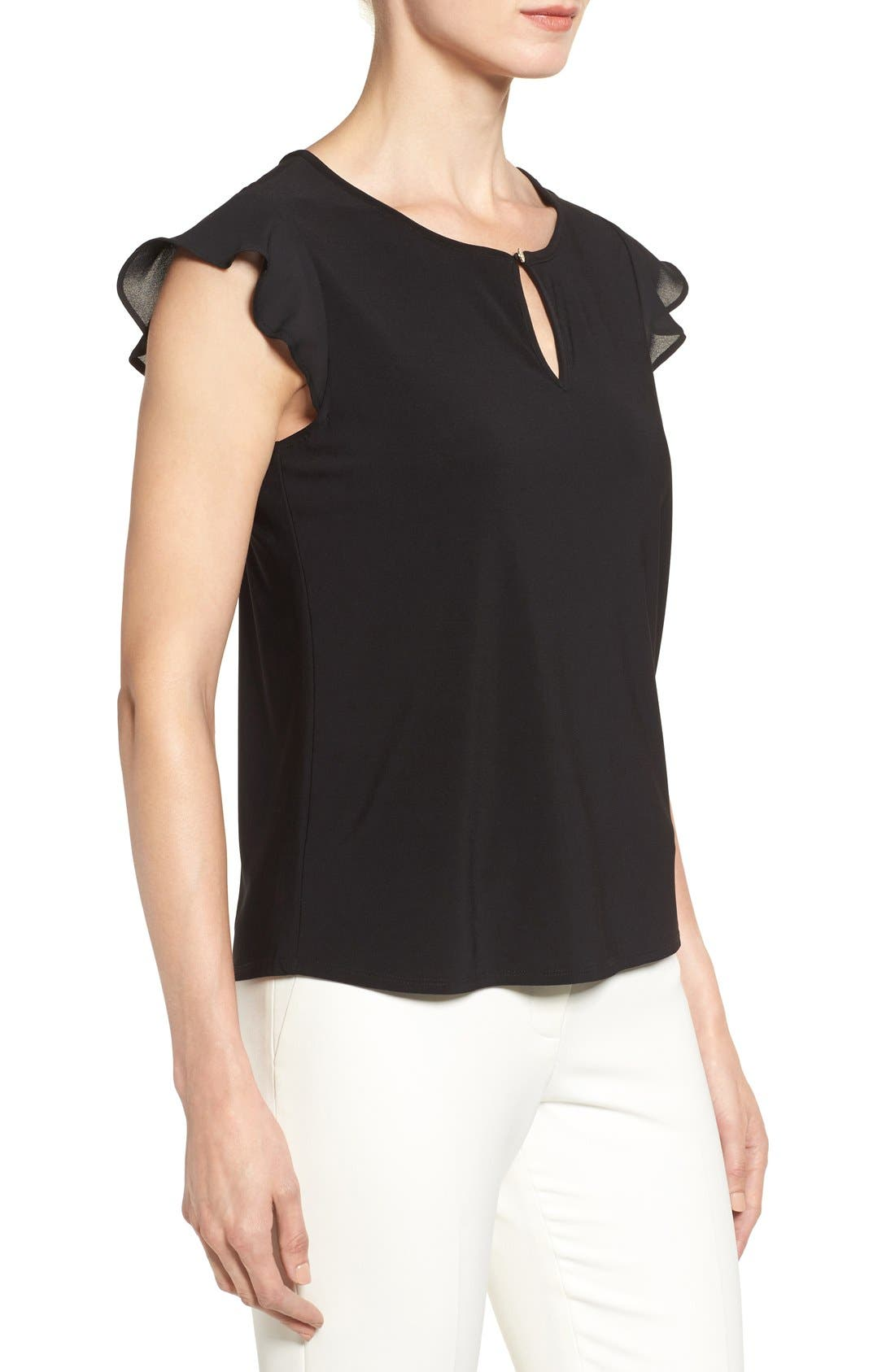 Alternate Image 3  - CeCe Flutter Sleeve Keyhole Neck Top