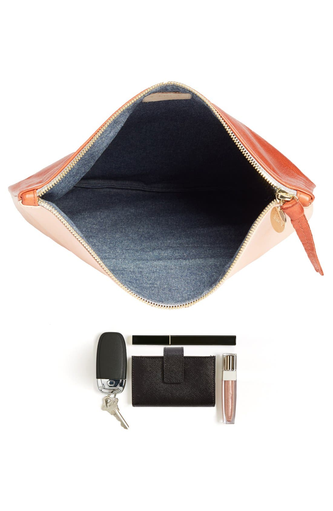 Alternate Image 7  - Clare V. Colorblock Leather Foldover Clutch