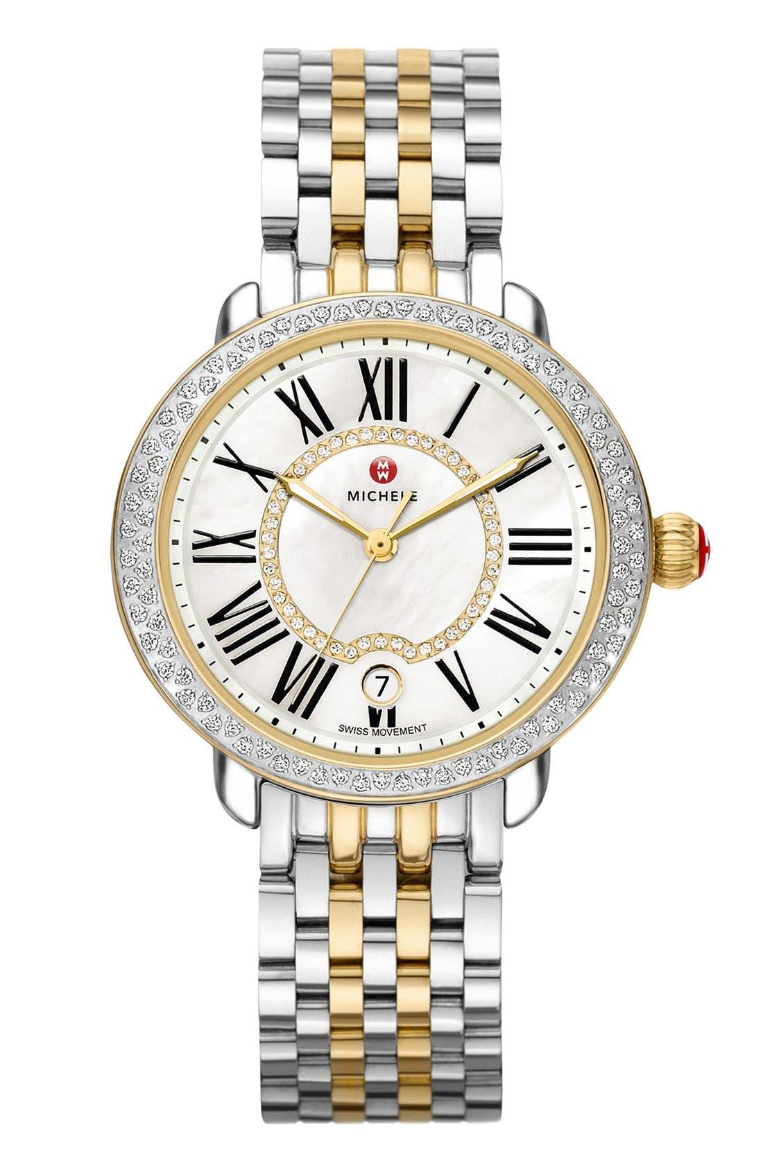 Serein 16 Diamond Watch Case, 34mm x 36mm,                             Alternate thumbnail 2, color,                             Gold/ Silver