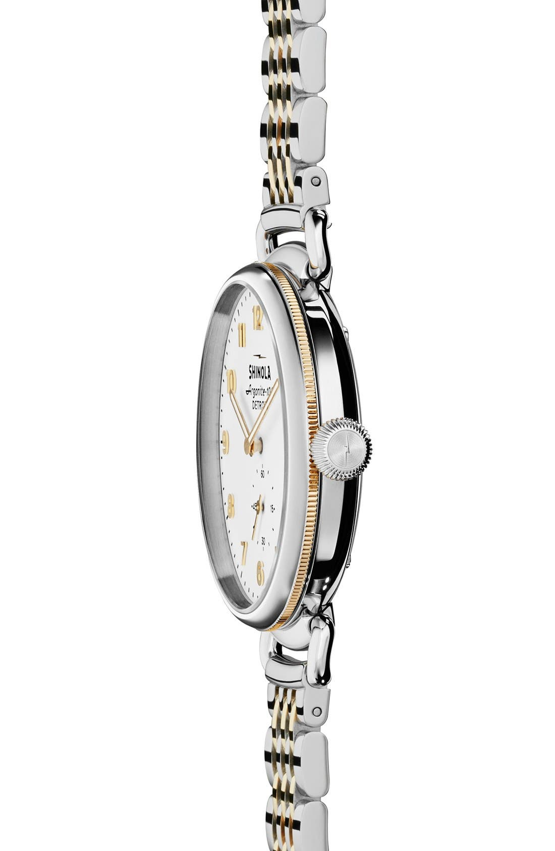 'The Canfield' Bracelet Watch, 38mm,                             Alternate thumbnail 2, color,                             Silver/ Gold/ White