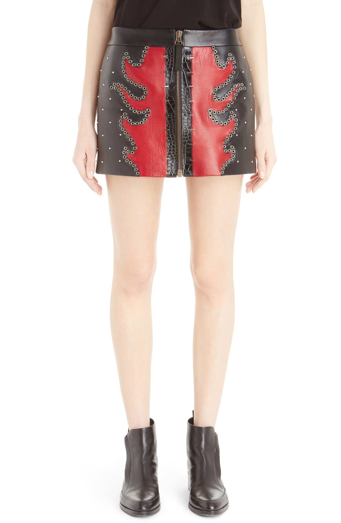 Main Image - Anthony Vaccarello Fire Bicolore Leather Miniskirt