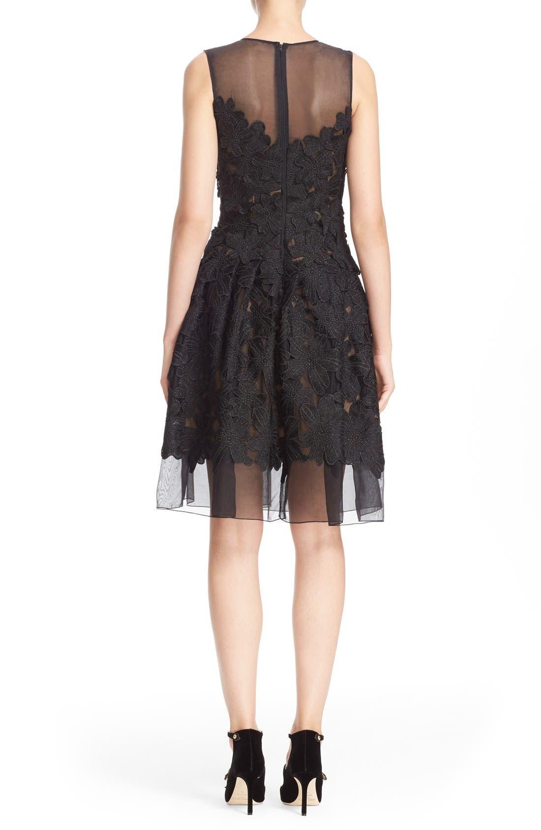 Alternate Image 2  - Carmen Marc Valvo Couture Floral Appliqué Sleeveless Organza Dress