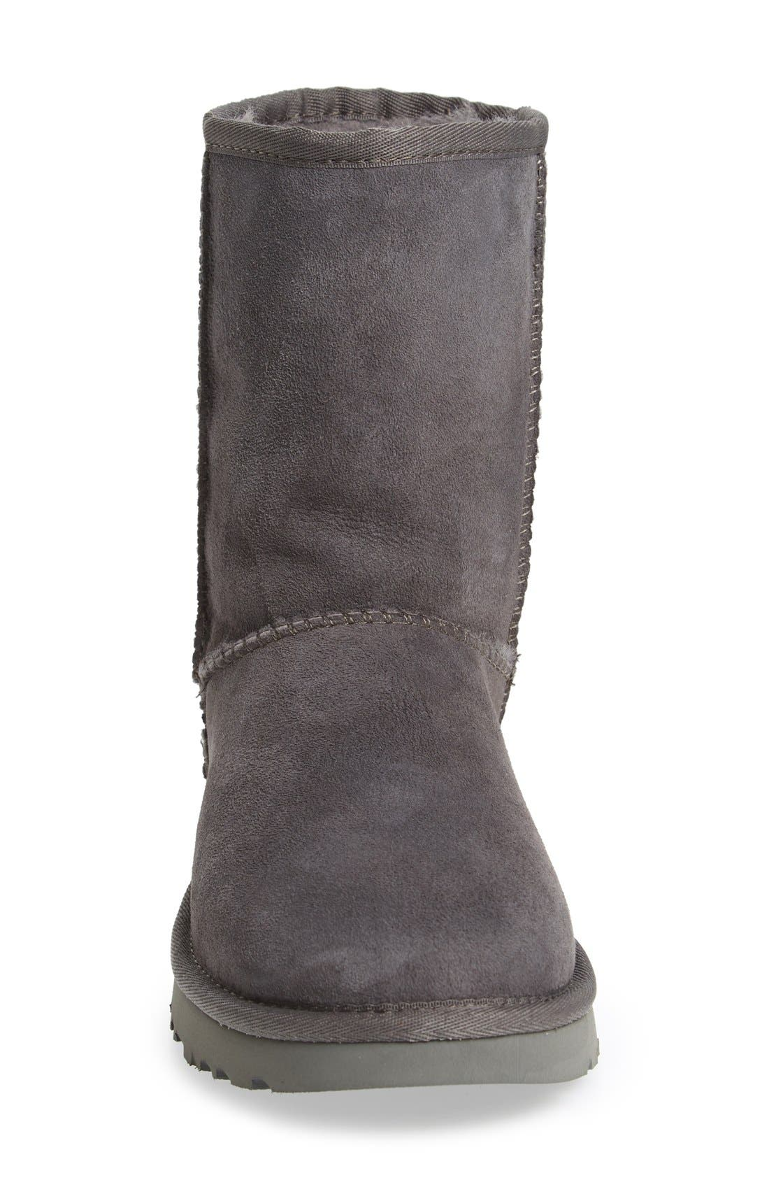 'Classic II' Genuine Shearling Lined Short Boot,                             Alternate thumbnail 3, color,                             Grey Suede