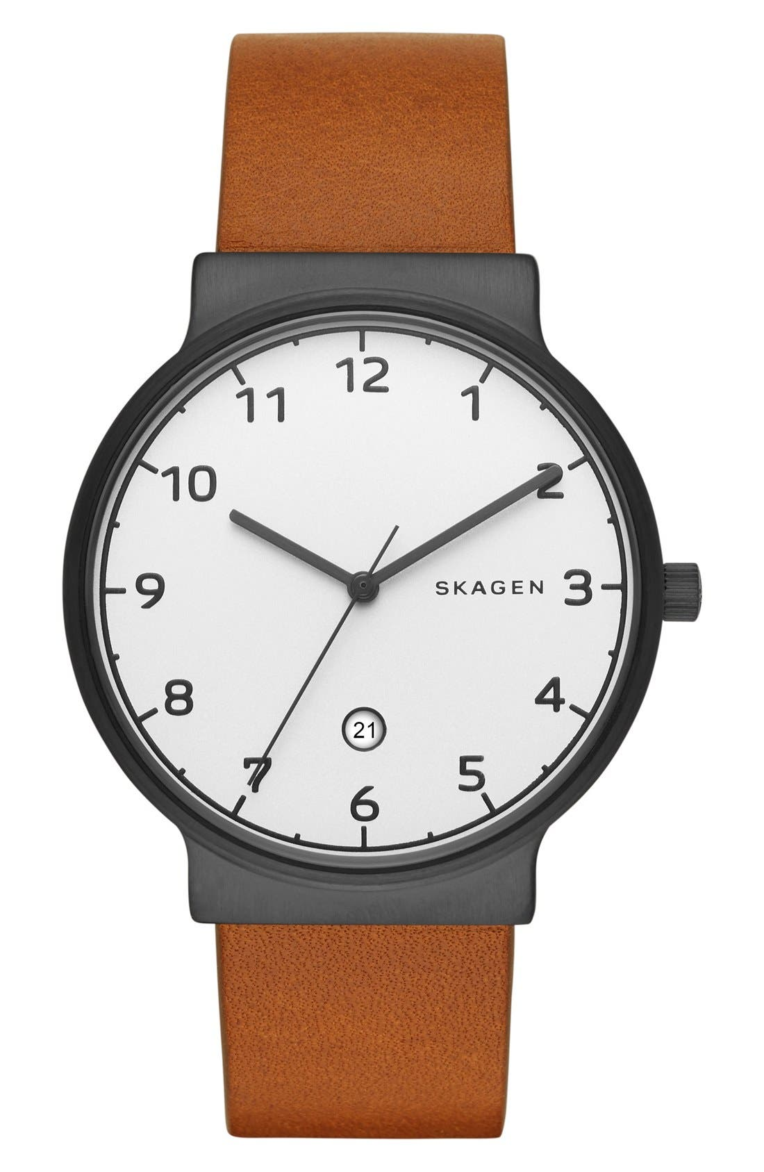 'Ancher' Round Leather Strap Watch, 40mm,                         Main,                         color, Light Brown/ Silver
