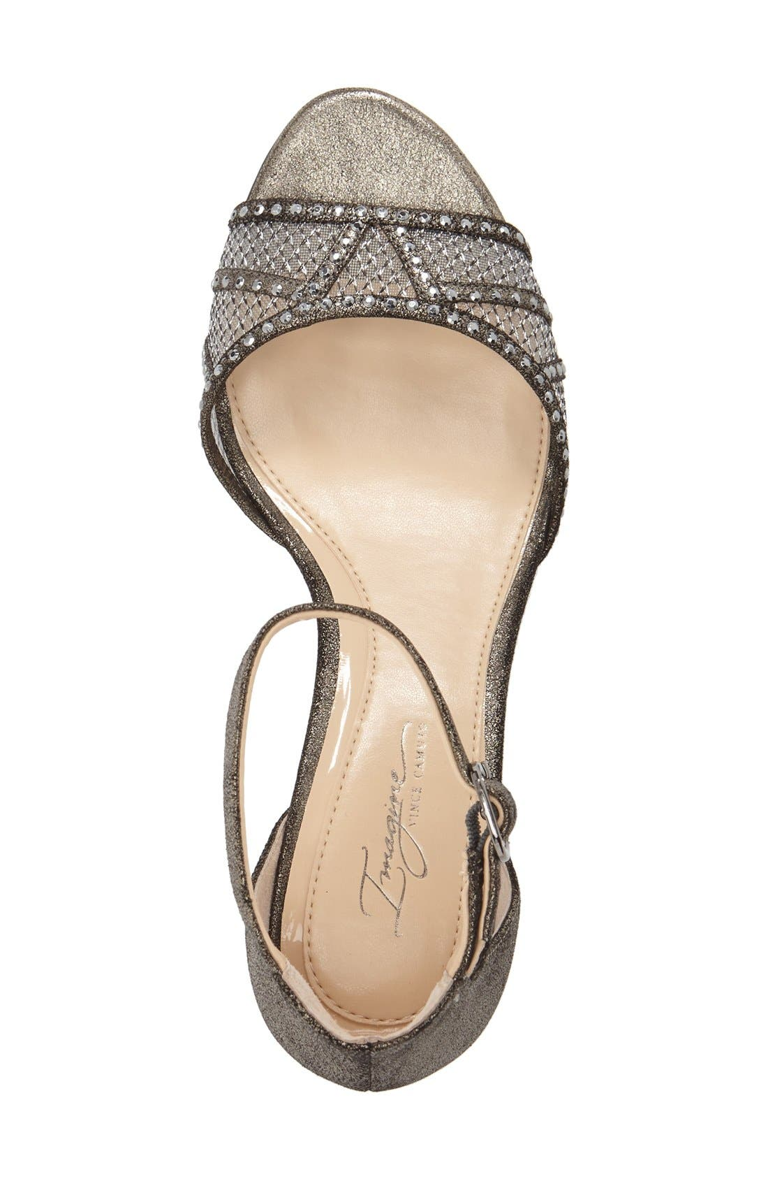 'Joan' Studded Wedge Sandal,                             Alternate thumbnail 3, color,                             Anthracite Suede