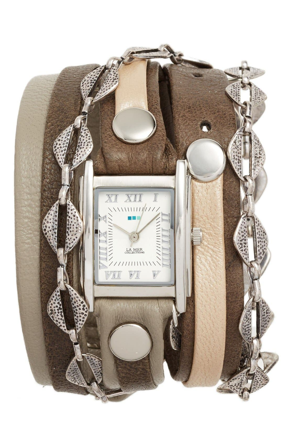 Leather & Chain Wrap Bracelet Watch, 28mm,                         Main,                         color, Grey/ Silver
