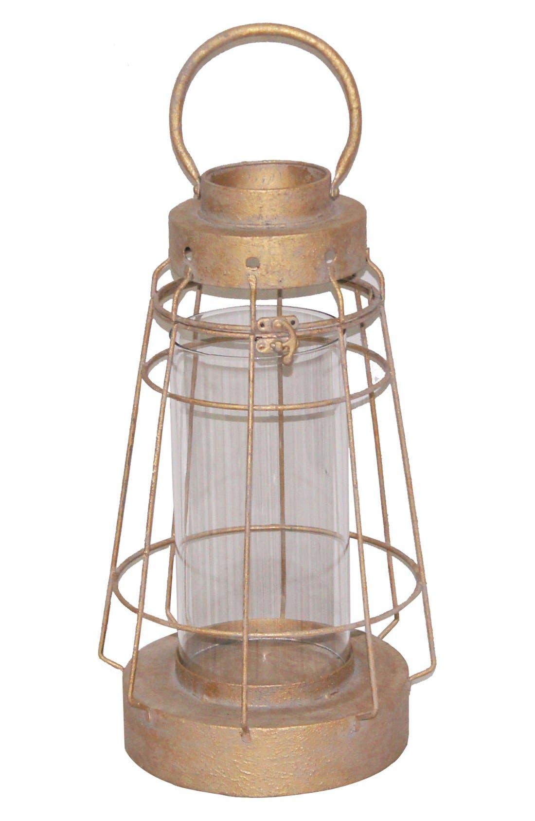 Wood & Metal Lantern Candle Holder,                         Main,                         color, Gold
