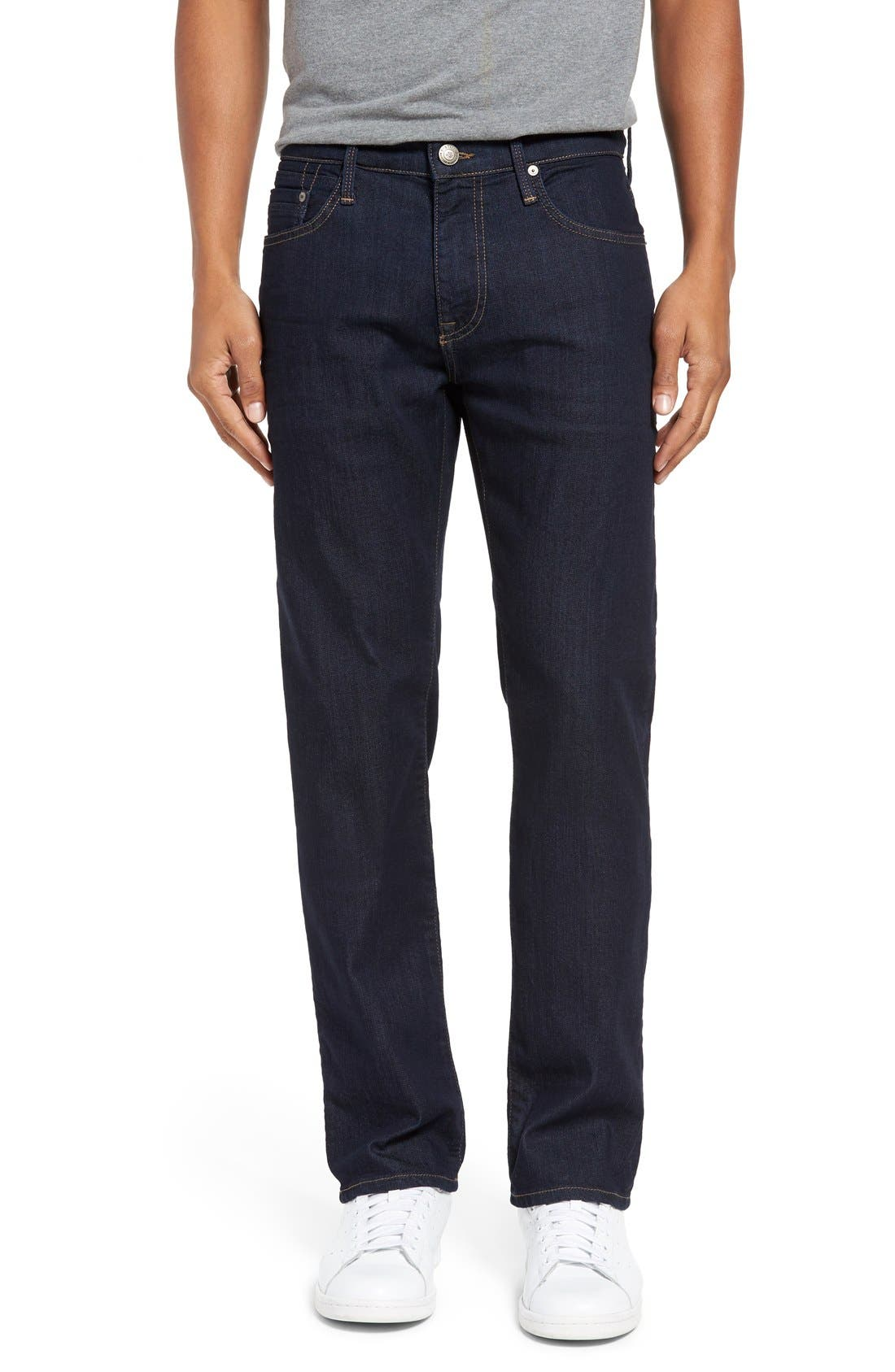 'Zach' Straight Leg Jeans,                             Main thumbnail 1, color,                             Dark Blue