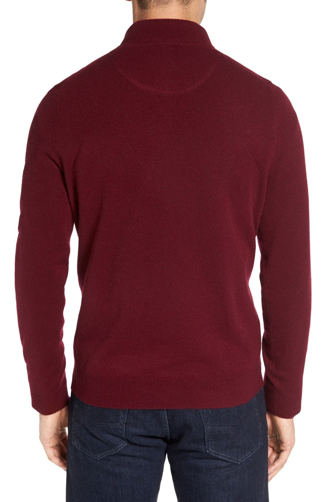 Alternate Image 2  - Nordstrom Men's Shop Regular Fit Cashmere Quarter Zip Pullover (Regular & Tall)