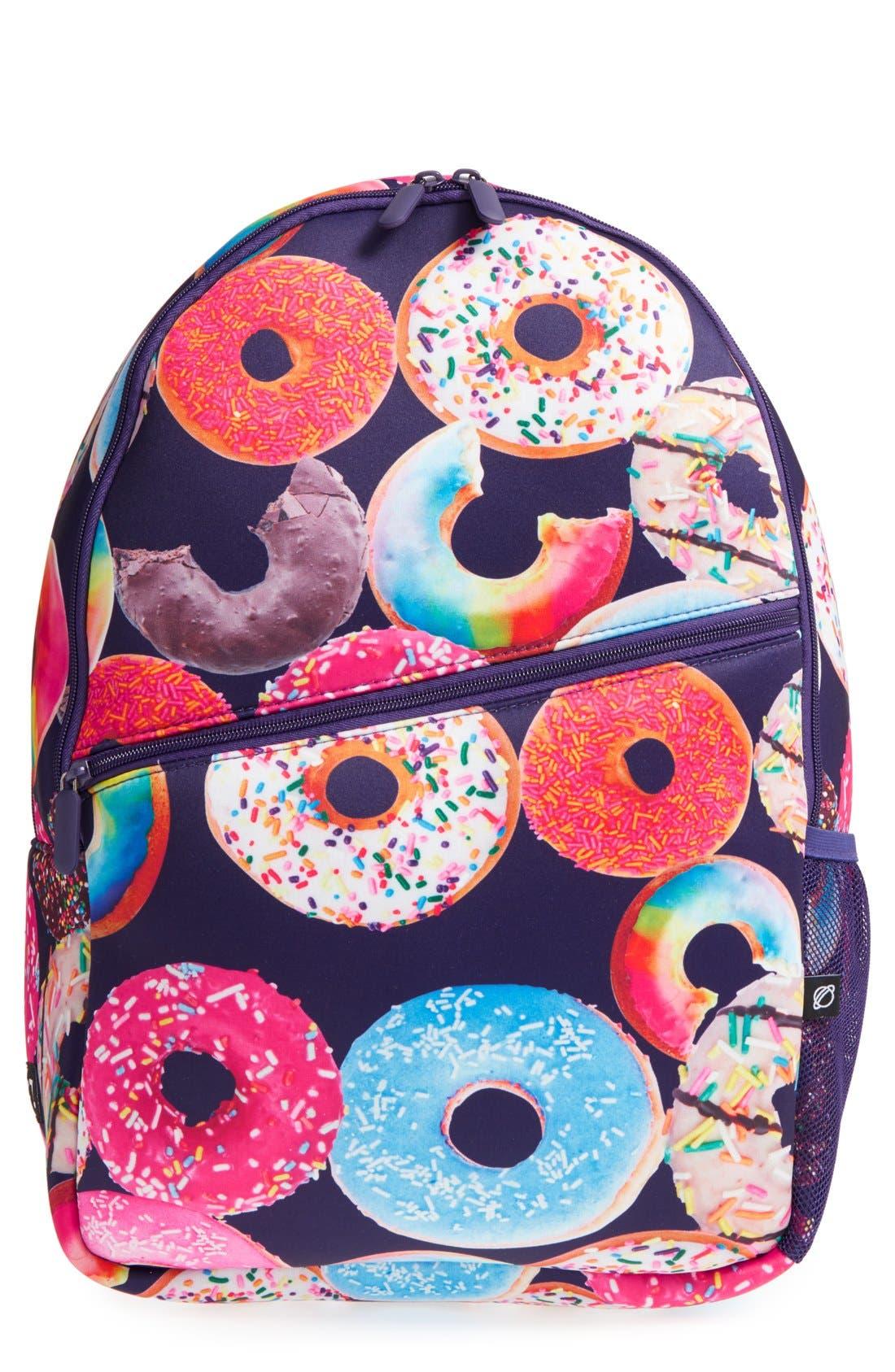 'Donut Shop' Neoprene Backpack,                         Main,                         color, Black Multi