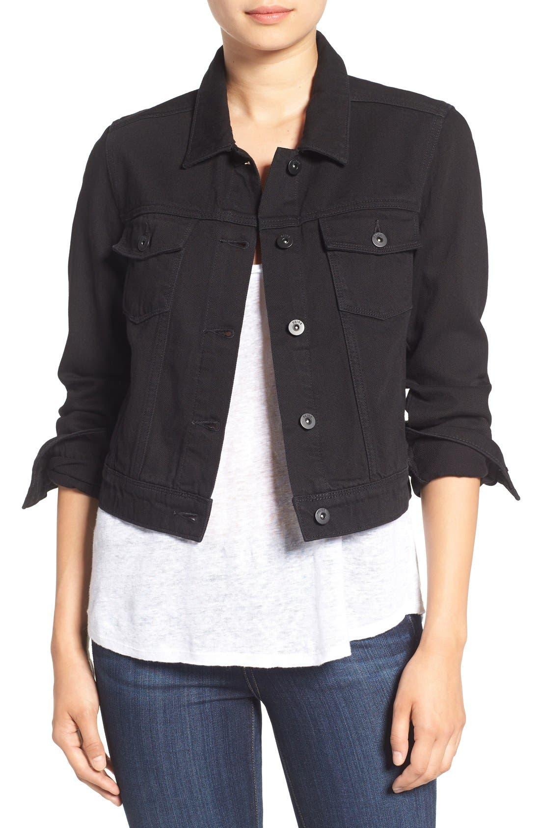 'Vivienne' Denim Jacket,                         Main,                         color, Black Hawk