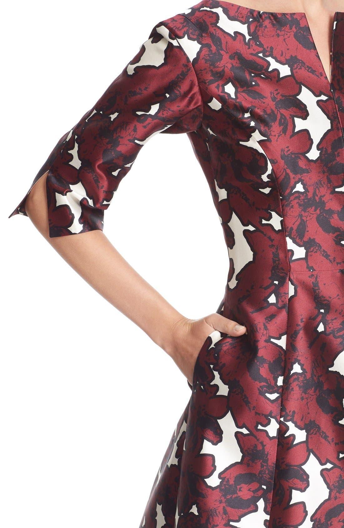 Alternate Image 6  - Oscar de la Renta 'Pressed Flowers' Print Silk Mikado Dress