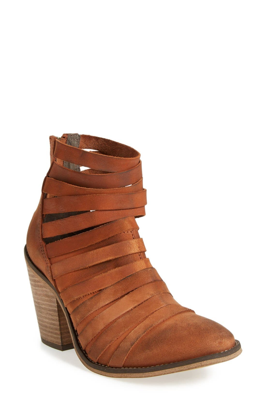 'Hybrid' Strappy Leather Bootie,                             Main thumbnail 1, color,                             Terracotta Leather
