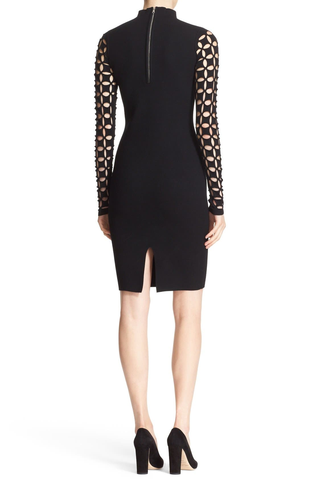 Alternate Image 2  - Milly Lattice Sleeve Fitted Knit Dress