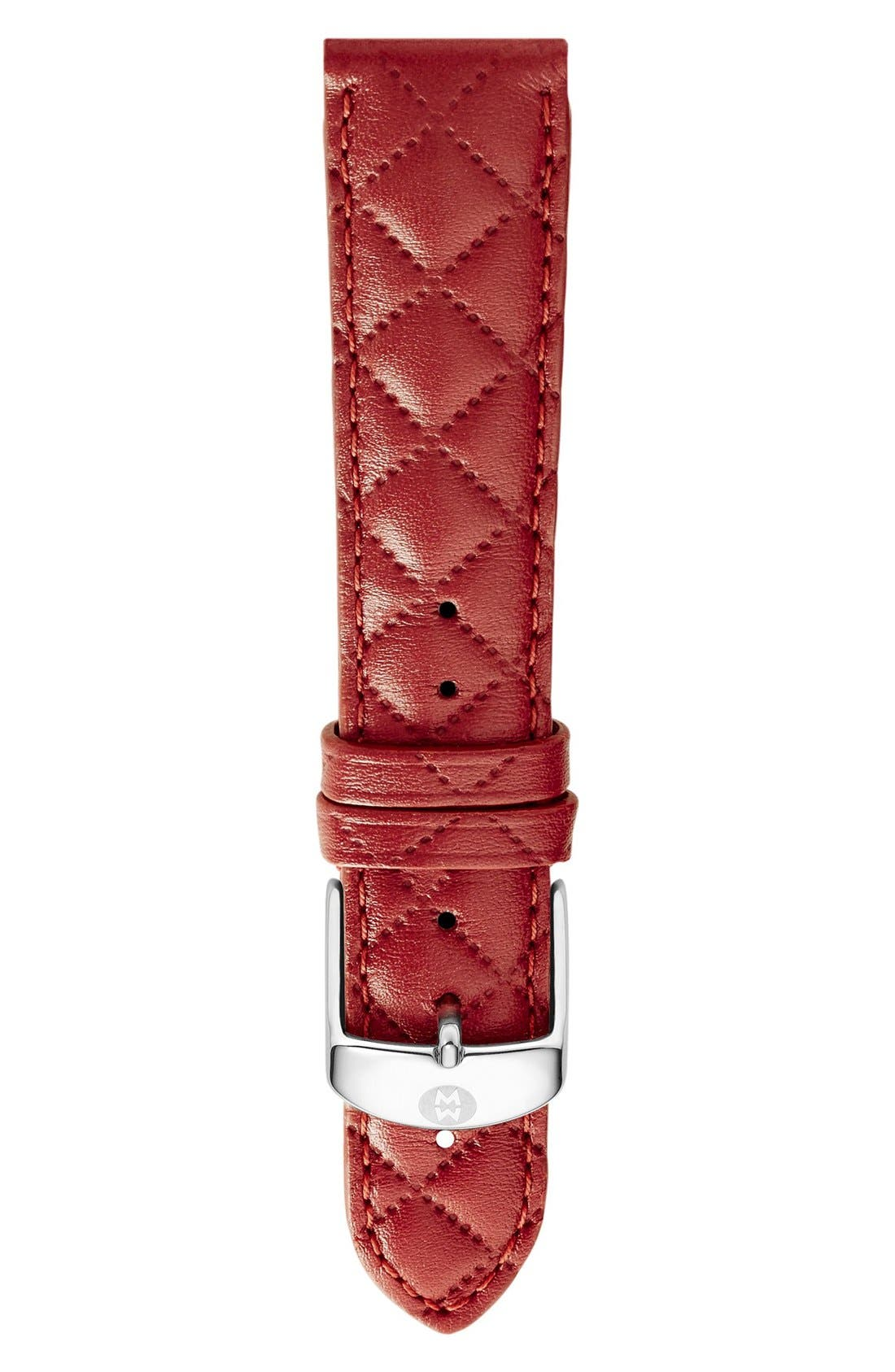 20mm Quilted Leather Strap Watch,                         Main,                         color, Red