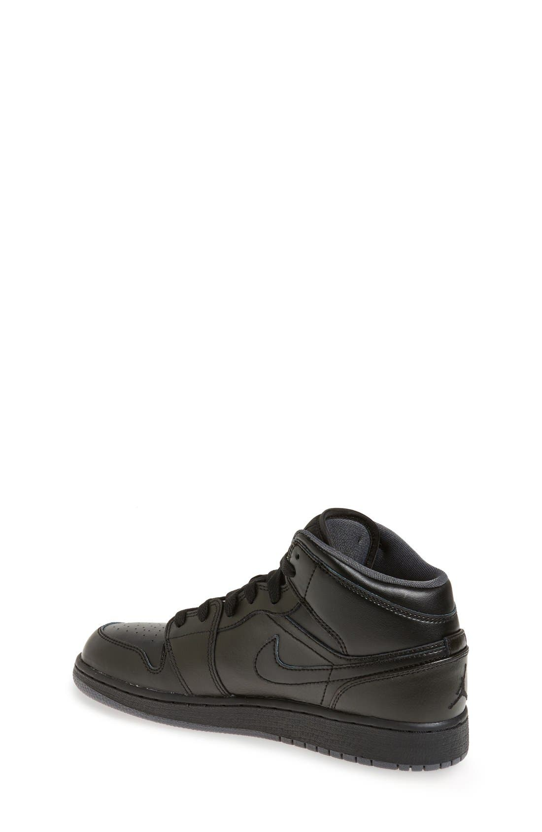 Nike 'Air Jordan 1 Mid' Sneaker,                             Alternate thumbnail 2, color,                             Black/ Black