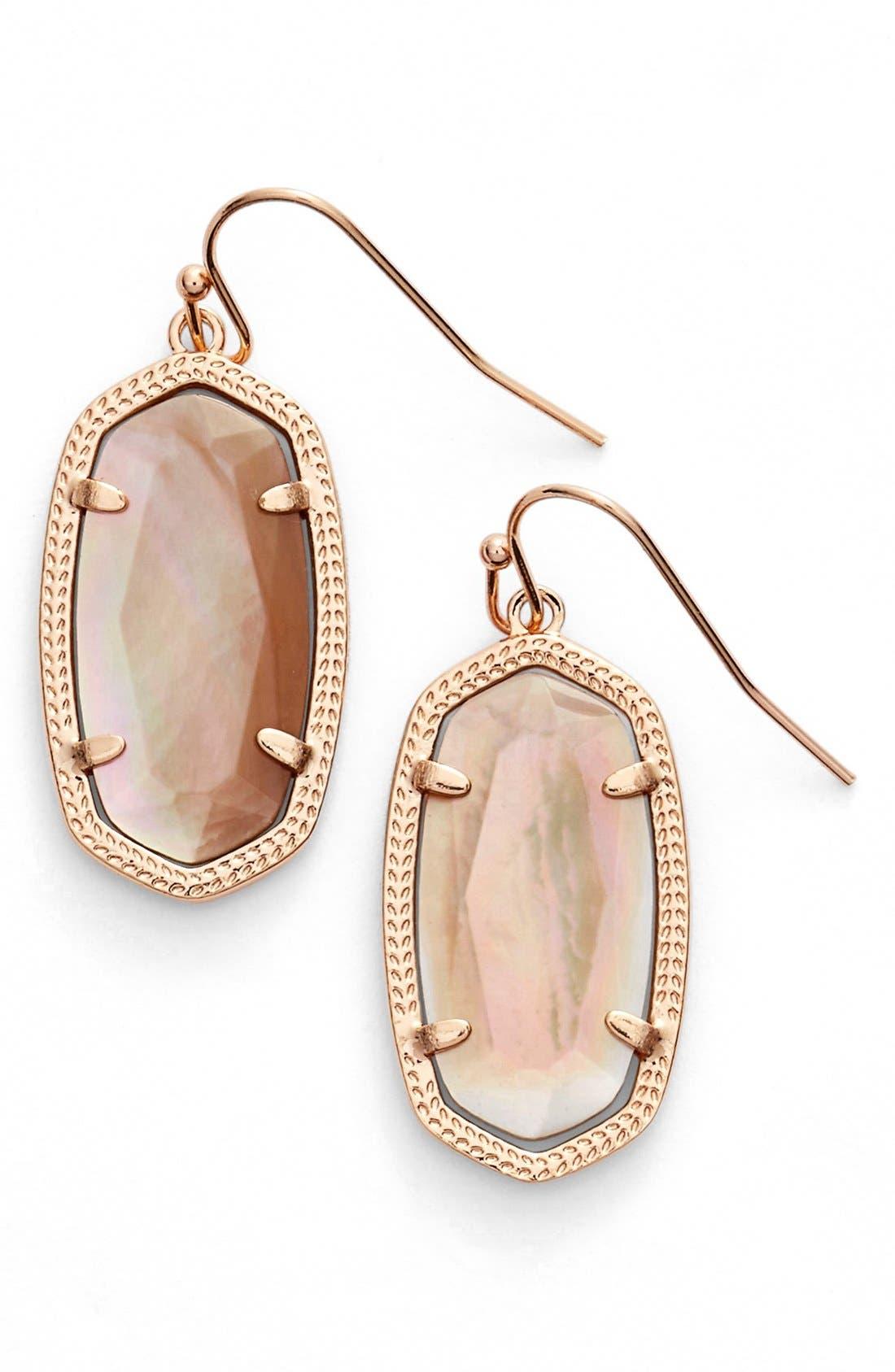 Dani Stone Drop Earrings,                             Main thumbnail 1, color,                             Brown Mop/ Rose Gold