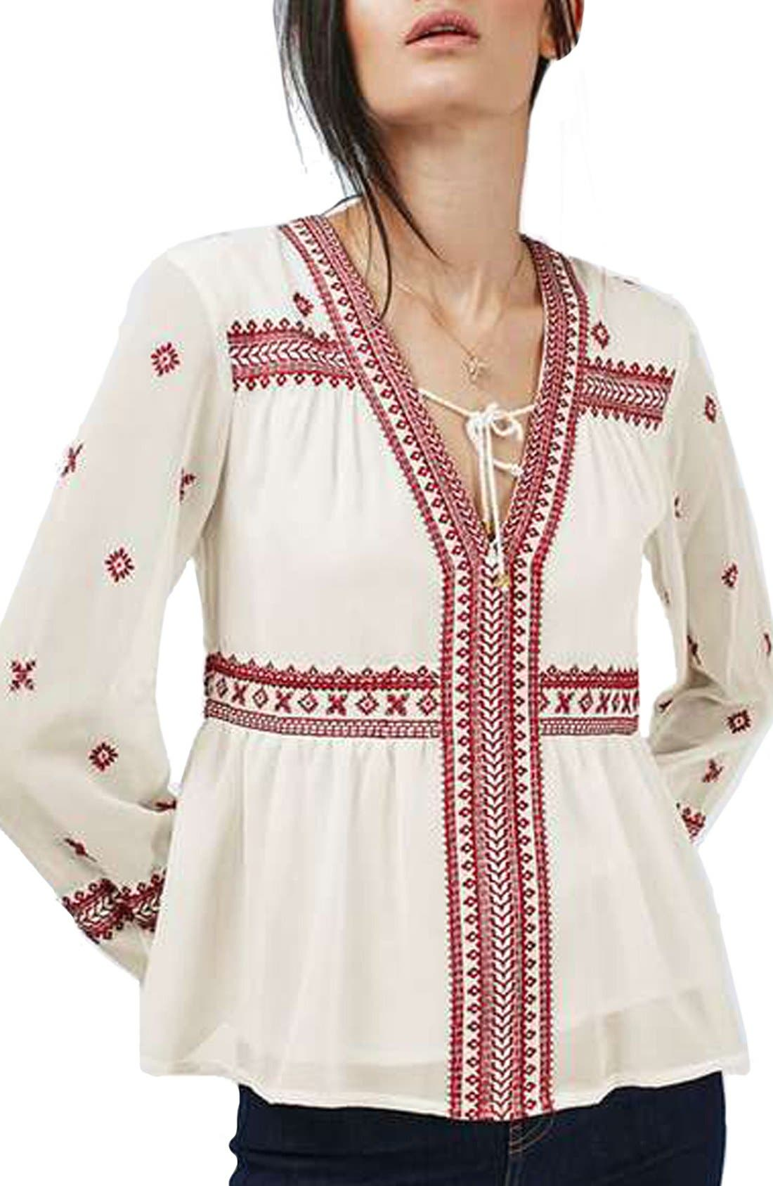 Main Image - Topshop Embroidered Peasant Top